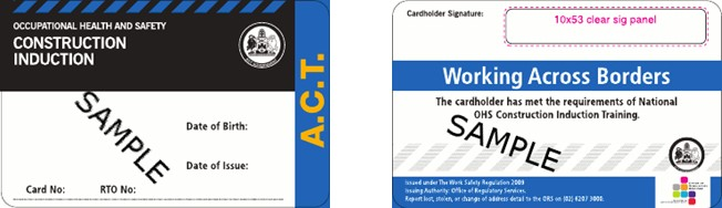 Image shows the ACT construction induction card issued between 1 September 2009 and 31 December 2011.