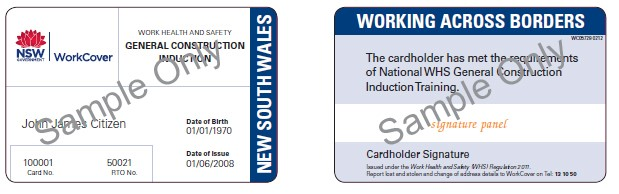 Image shows the construction induction card issued in NSW from 1 January 2012.