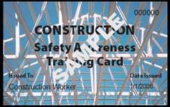 Image shows the construction awareness training card issued by the WorkSafe Western Australia Commission for Occupational Safety and Health.