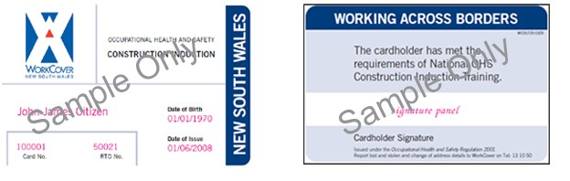 Image shows the induction construction card issued between 1 September 2009 and 31 December 2011 by NSW.
