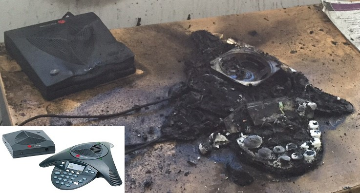 Image shows the destroyed phone after the fire