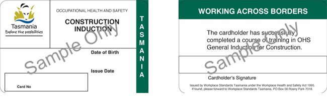 The image shows the construction induction card issued in Tasmania.