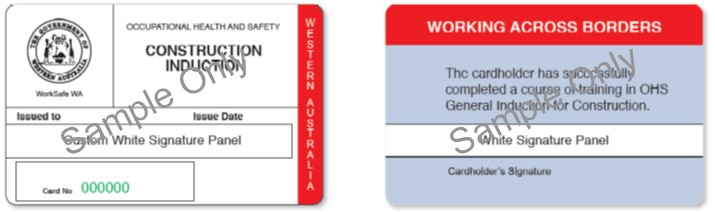 Image shows the Western Australian construction induction card.