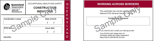 Image shows the construction induction card issued in Queensland.