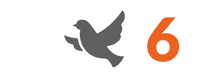 The image shows a grey icon of a dove and the number 6.