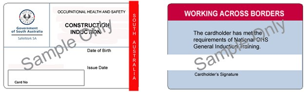 Image shows the construction induction card issued in South Australia.
