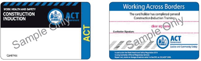 Image shows the ACT construction induction card issued after 1 January 2012
