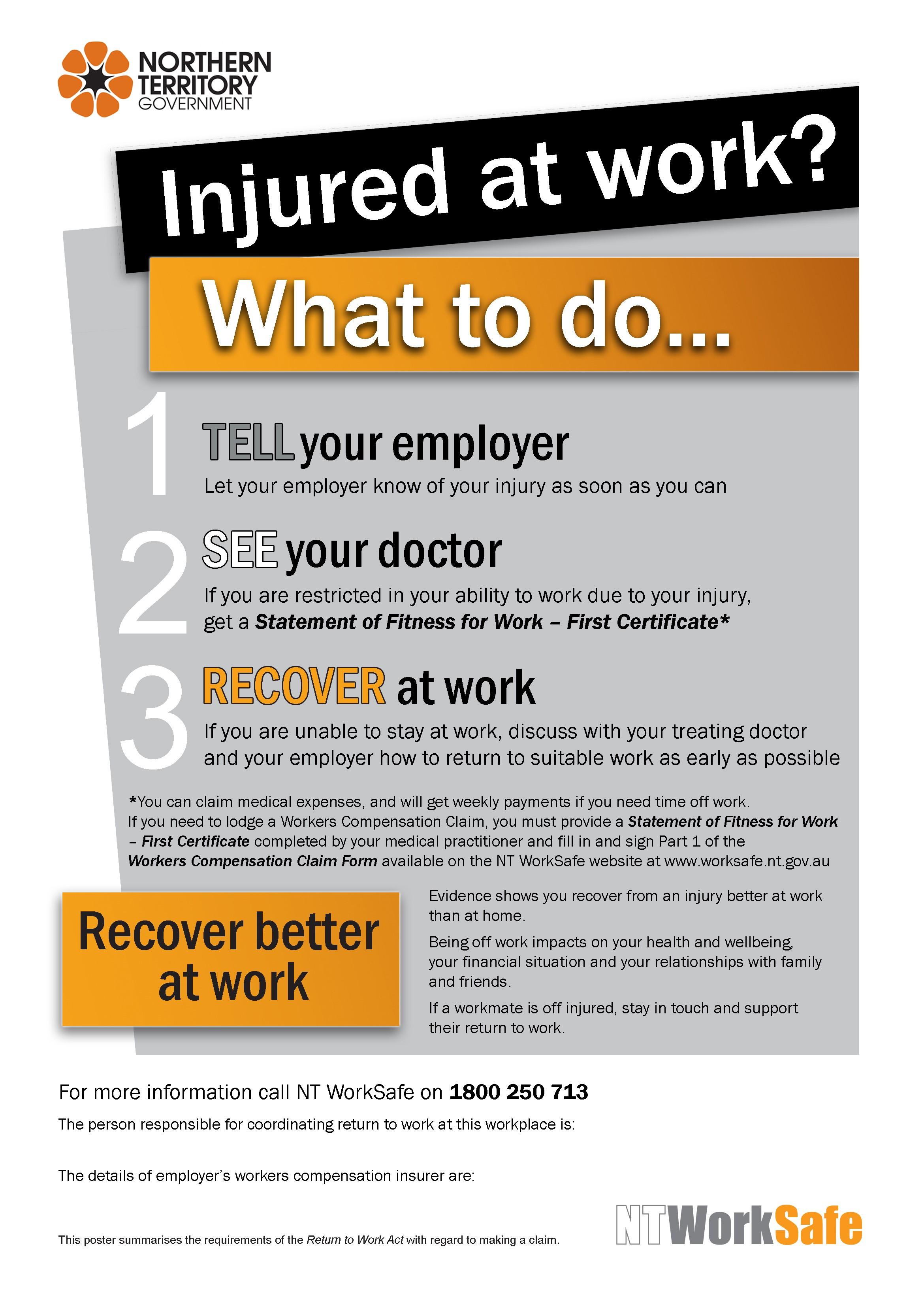 injured at work poster