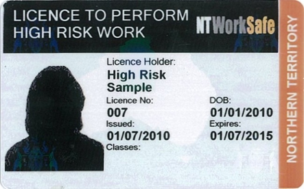 Image of example NT High Risk Work Licence
