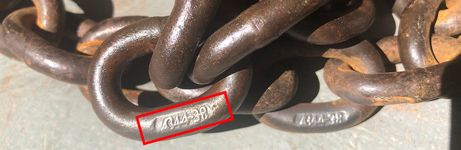 Image 1: The 4344-38 identification marking on this chain means it complies with Australian Standard 4344 and has a 3.8 tonne capacity.