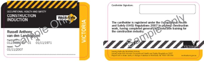 Image shows the construction induction card issued by Victoria.